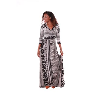 Hadari Women's Black and Ivory Mixed Print Maxi Dress