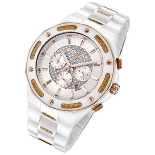 Cirros Milan Men's White Ceramic Rose Goldtone Carbon Fiber Chronograph Watch