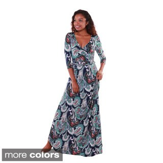 Hadari Women's Paisley Pattern Deep V-neck Maxi Dress