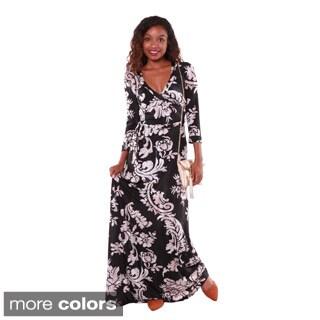 Hadari Women's Floral V-neck Maxi Dress