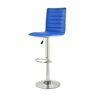 Adeco Adjustable Blue Faux Leather Chrome Channel Tufted Barstools (Set of 2)
