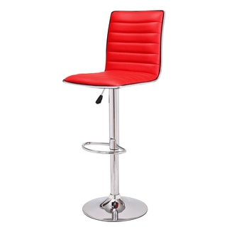 Adeco Adjustable Red Faux Leather Chrome Channel Tufted Barstools (Set of 2)