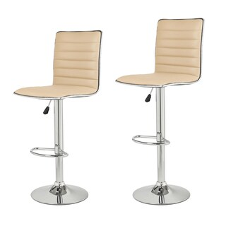 Adeco Adjustable Beige Faux Leather Chrome Channel Tufted Barstools (Set of 2)