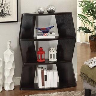 Contemporary Geometric 3-shelf Cappuccino Bookcase