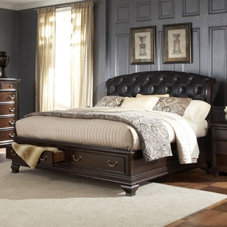 Victoria Edward Cherry Brown Tufted Leather Queen-sized Platform Sleigh Storage Bed