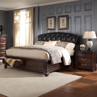 Victoria Edward Cherry Brown Tufted Leather Queen-sized Platform Bed and Nightstand