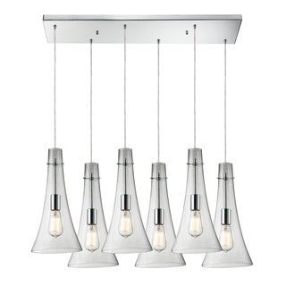 Elk Lighting Menlow Park 6-light Polished Chrome Linear Pendant with Clear Glass Shades