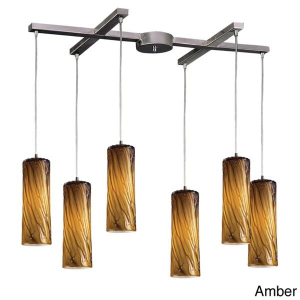 Elk Lighting Maple Satin Nickel 6-light Pendant Cluster Pendant