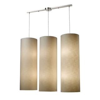 Elk Lighting Fabric Cylinder 12-light Satin Nickel Linear Pendant