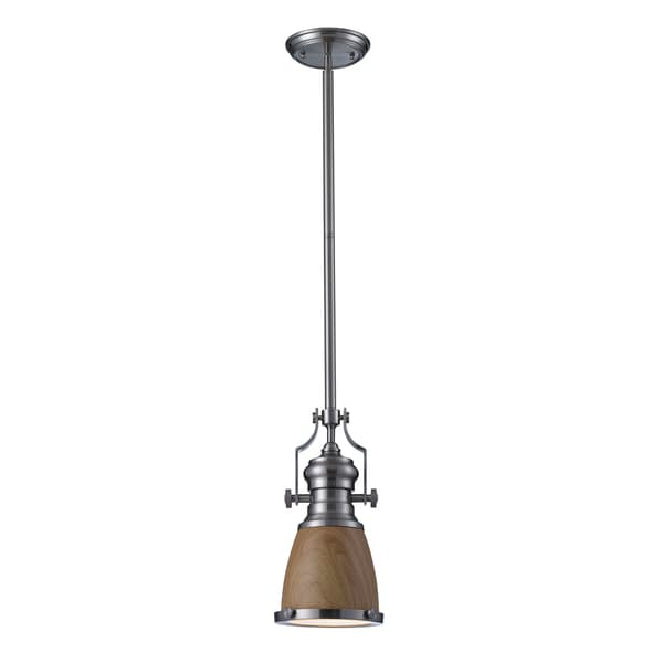 Chadwick 1-light Satin Nickel Medium Oak Pendant