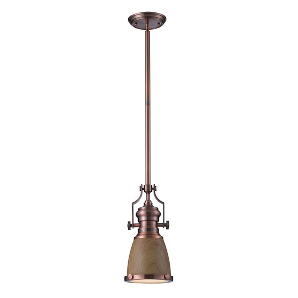 Elk Lighting Chadwick Single-light Medium Oak/ Antique Copper Pendant