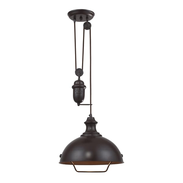 Elk Lighting Farmhouse Single light Oiled Bronze Pendant Oversto
