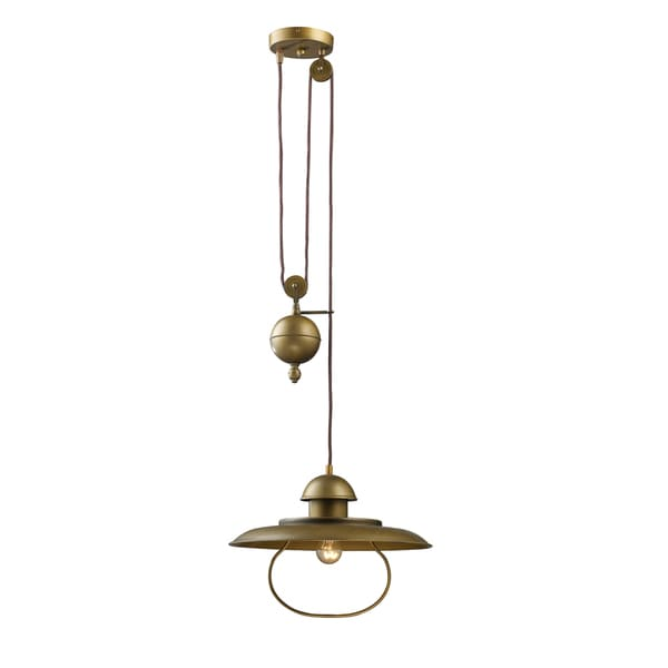 Elk Lighting Farmhouse Single-light Antique Brass Pulldown Pendant