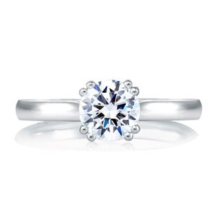 A JAFFE 18k White Gold Cubic Zirconia Semi Mount Solitaire Engagement Ring Set