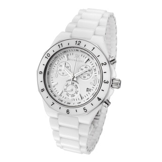 Rougois Women's White Ceramic Chronograph Watch