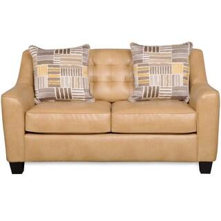 Celeste Camel Brown Bonded Leather Love Seat