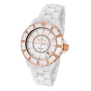 Rougois Women's White Ceramic Rose Goldtone Diamond Watch
