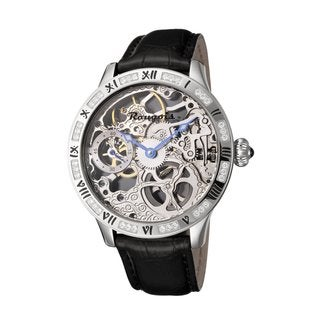 Rougois Men's Skeleton Mechanical Watch with Crystal Embellished Bezel