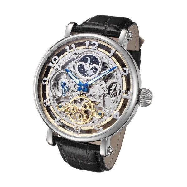 Rougois Men's Skeleton Automatic Dual Time Zone Watch