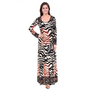 24/7 Comfort Apparel Women's Abstract Animal Print Maxi Dress