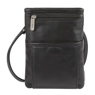 Travelon Black Leather Mini Organizer Bag