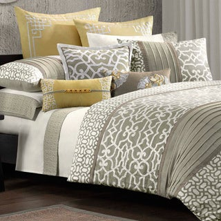 N Natori Fretwork Cotton 4-piece Comforter Set