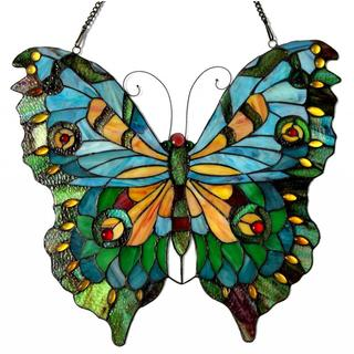 Tiffany Style Butterfly Design Stained Glass Window Panel