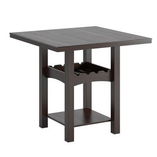 CorLiving Bistro Dark Cocoa Dining Table with Wine Rack