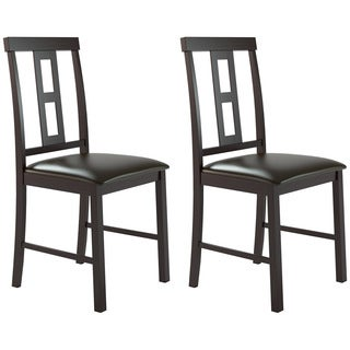 CorLiving Chocolate Black Bonded Leather Square Back Dining Chairs (Set of 2)
