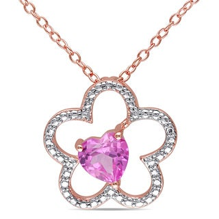 Miadora Rose Plated Silver Created Pink Sapphire Flower Heart Necklace