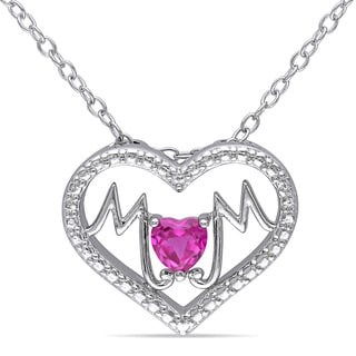 Miadora Sterling Silver Created Ruby Mom Heart Pendant Necklace