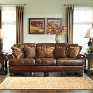 Signature Designs by Ashley 'Hutcherson' Harness Brown Leather Sofa