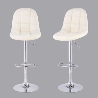 Adeco Cream Tufted Faux Leather, Adjustable Chrome Base Barstools (Set of 2)
