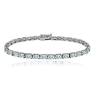 Glitzy Rocks Sterling Silver 8 3/4ct Aquamarine Oval Tennis Bracelet