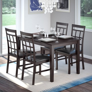 CorLiving 5-piece Dark Cocoa Dining Set with Lattice Back Chairs