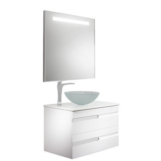 VIGO Vision 32-inch Bathroom Vanity with White Frost Vessel Bowl and Blackstonian Faucet Set