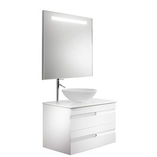 Vigo Vision 32-inch Bathroom Vanity with White Phoenix Stone Vessel Bowl and Faucet Set