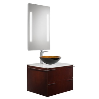 Vigo Vision 31-inch Bathroom Vanity with Russet Vessel Bowl and Blackstonian Faucet Set