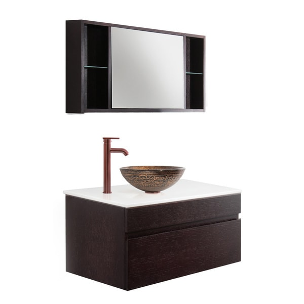 Vigo Vision 35-inch Bathroom Vanity with Golden Greek Vessel Bowl and Faucet Set
