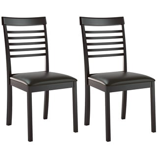 CorLiving Chocolate Black Bonded Leather Ladder Back Dining Chairs (Set of 2)