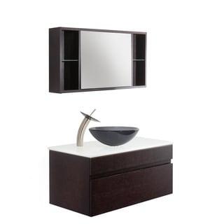 Vigo Vision 35-inch Bathroom Vanity with Sheer Black Vessel Bowl and Waterfall Faucet Set