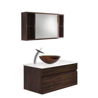 Vigo Vision 35-inch Bathroom Vanity with Russet Vessel Bowl and Waterfall Faucet Set