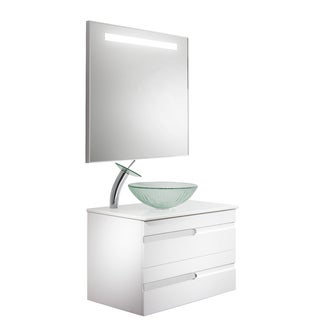 Vigo Vision 32-inch Bathroom Vanity with Icicles Vessel Bowl and Waterfall Faucet Set