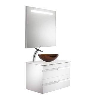 Vigo Vision 32-inch Bathroom Vanity with Russet Vessel Bowl and Waterfall Faucet Set