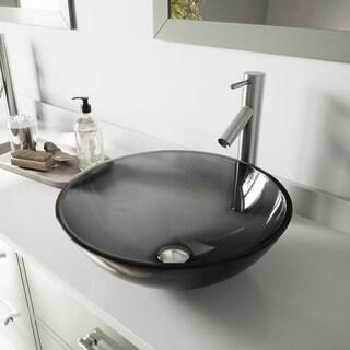 Vigo Sheer Black Glass Vessel Sink and Dior Brushed Nickel Finish Faucet Set