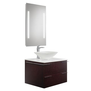 VIGO Vision 31-inch Bathroom Vanity with Square Shaped White Phoenix Stone Vessel Bowl and Blackstonian Faucet Set