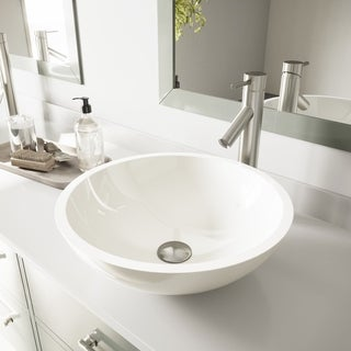 Vigo Flat Edged White Phoenix Stone Glass Vessel Sink and Dior Brushed Nickel Finish Faucet Set