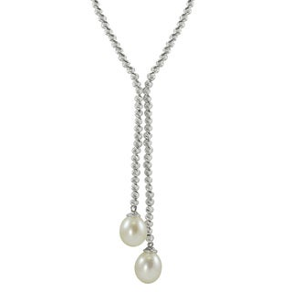 Pearls For You Sterling Silver Freshwater Pearl and Brilliance Bead Lariat Necklace (9-10 mm)