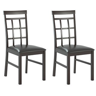 CorLiving Lattice Back Dining Chairs in Chocolate Black Bonded Leather (Set of 2)