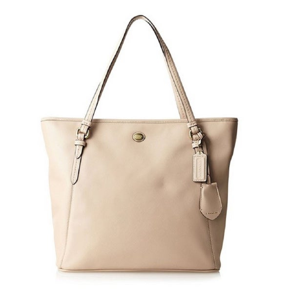 Coach 'Peyton' Beige Saffiano Leather Zip-top Tote